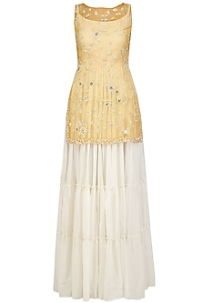 Off White Maxi Dress and Gold Floral Work Jacket Set