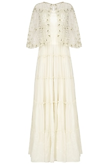 Off White Maxi Dress and Embroidered Short Cape Set