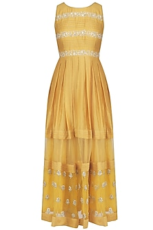 Yellow Floral Embroidered Maxi Dress