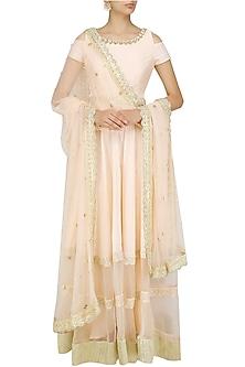 Powder Pink Floral Embroidered Cold Shoulder Gown by Priyanka Jain