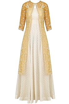 Ivory Maxi Dress with Mustard Embroidered Jacket