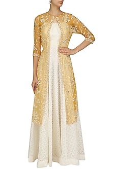 Ivory Maxi Dress with Mustard Embroidered Jacket by Priyanka Jain