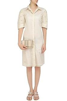Ivory Floral Embroidered Shirt Dress by Priyanka Jain