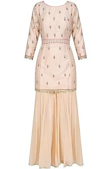 Pink Pearl and Thread Embroidered Sharara Set by Priyanka Jain