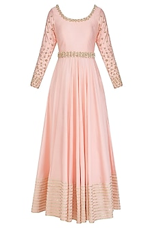 Pink Sequins and Beads Embroidered Anarkali Set