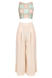 Pink and Blue Embroidered Crop Top with Pink Culottes