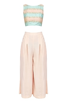 Pink and Blue Striped Crop Top with Pink Culottes