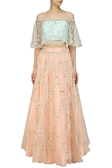 Mint Embroidered Off Shoulder Crop Top with Peach Embellished Lehenga by Priyanka Jain