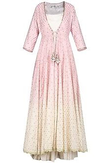 Lilac Embroidered Jacket with Maxi Dress by Priyanka Jain