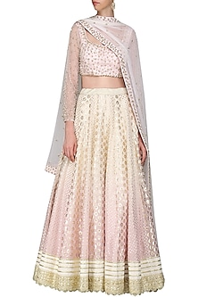 Lilac and Ivory Sequin Embroidered Lehenga Set by Priyanka Jain
