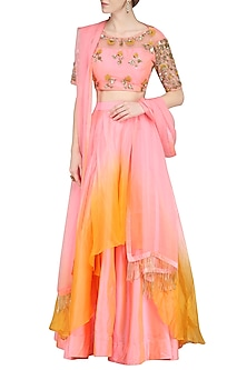 Pink and Yellow Embroidered Lehenga Set by Priyanka Jain