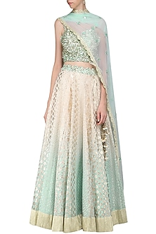 Sky Blue and Ivory Embroidered Lehenga Set by Priyanka Jain