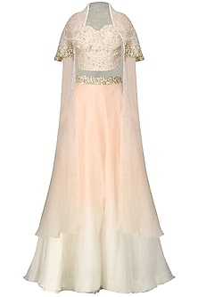 Peach and Ivory Crop Top with Skirt and Cape.  by Priyanka Jain