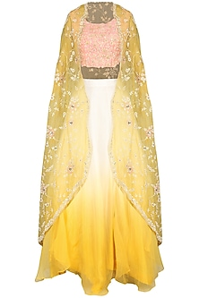 Yellow and Ivory Cape with Blouse and Skirt