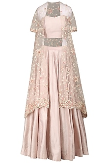 Dirty Rose Embroidered Cape with Skirt and Bustier by Priyanka Jain