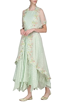 Mint Green Asymmetrical Tunic with Cape and Belt by Priyanka Jain