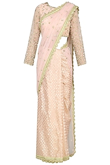 Peach Sequin Embroidered Saree