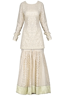 Ivory Embroidered Sharara Set