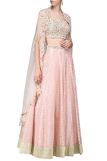 Pink Embroidered Cape with Blouse and Lehenga by Priyanka Jain