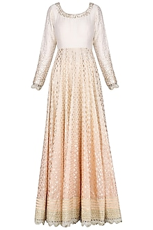 Peach and Ivory Ombre Anarkali by Priyanka Jain