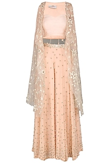 Peach Sequin Embroidered Cape with Palazzo Pants and Bustier
