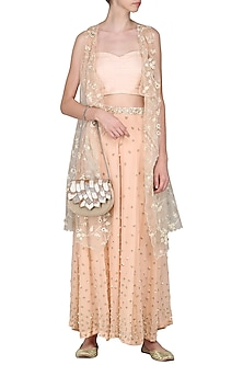 Peach Sequin Embroidered Cape with Palazzo Pants and Bustier by Priyanka Jain