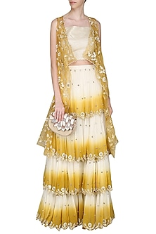 Mustard Yellow Ombre Skirt with Cape and Bustier by Priyanka Jain