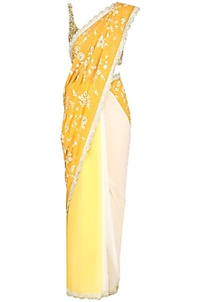 Yellow Ombre Embroidered Saree