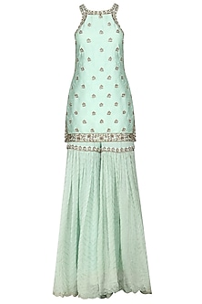 Mint Blue Embroidered Sharara Set