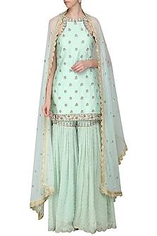Mint Blue Embroidered Sharara Set by Priyanka Jain