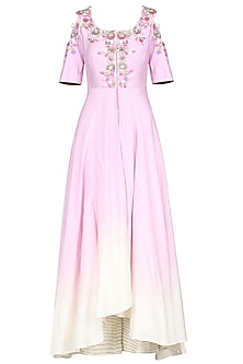 Lilac and Ivory Front Open Embroidered Kurta with Palazzo Pants by Priyanka Jain