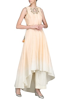 Peach and Ivory Ombre Embroidered Kurta with Palazzo Pants by Priyanka Jain