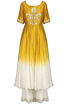 Yellow and Ivory Front Open Kurta with Palazzo Pants