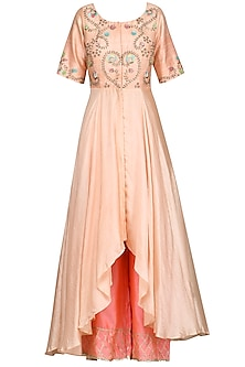 Peach High Low Embroidered Kurta with Pink Palazzo Pants by Priyanka Jain
