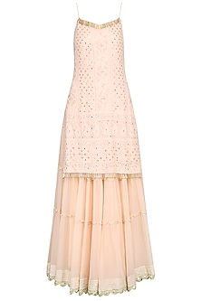 Peach Lucknowi Embroidered Kurta with Skirt and Dupatta
