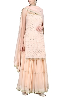 Peach Lucknowi Embroidered Kurta with Skirt and Dupatta by Priyanka Jain