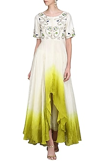 Ivory and Green Embroidered Kurta with Palazzo Pants by Priyanka Jain