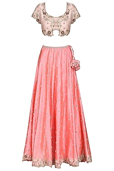 Pink Hand Embroidered Lehenga Set by Priyanka Jain