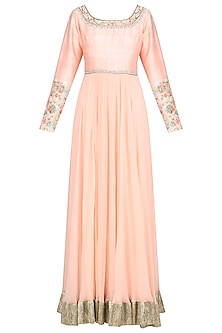Peach and Blue Embroidered Anarkali Set by Priyanka Jain