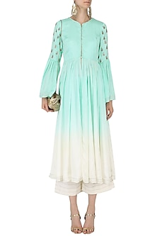 Sky Blue and White Ombre Anarkali with Palazzo Pants Set by Priyanka Jain