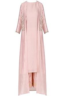 Pink Kurta with Palazzos and Embroidered Jacket Set