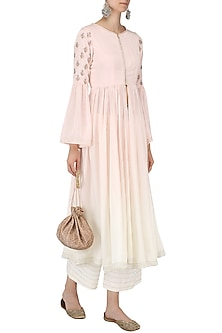 Pink and White Ombre Anarkali with Palazzo Pants Set by Priyanka Jain