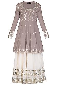 Grey Embroidered Kalidar Lehenga Set by Priyanka Singh