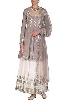 Grey Embroidered Kalidar Lehenga Set by Priyanka Singh