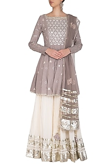 Grey Embroidered Kalidar Sharara Set by Priyanka Singh