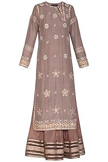 Ash Grey & Brown Embroidered Lehenga Set by Priyanka Singh
