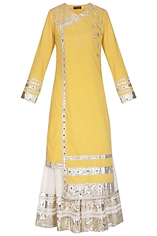 Yellow Embroidered Sharara Set by Priyanka Singh