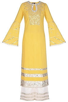 Yellow Embroidered Kurta Set by Priyanka Singh