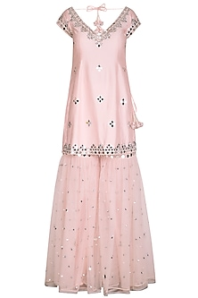 Soft Pink Embroidered Gharara Set by Preeti S Kapoor