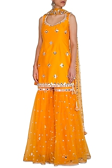 Orange Embroidered Gharara Set by Preeti S Kapoor